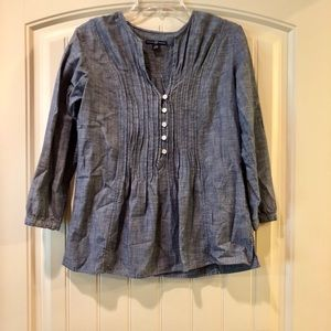 GAP Chambray Pintucked 3/4 Sleeve Tunic Size M